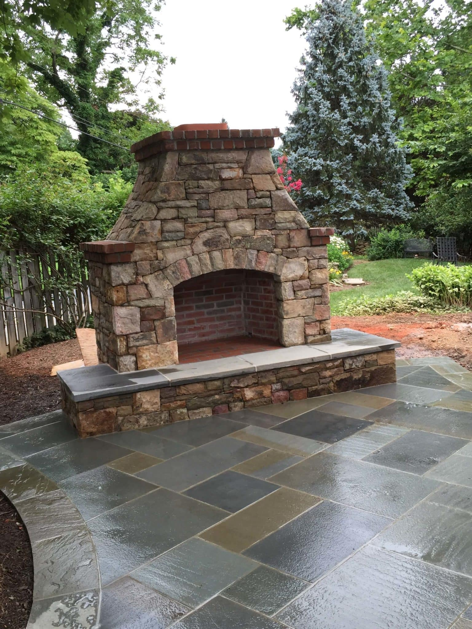 428 Stone Fireplace with Brick Accents