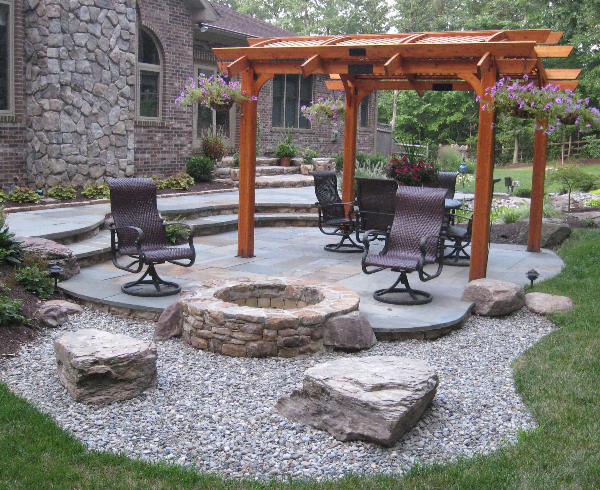 440 Flagstone Patio with Step Down to Stone Firepit