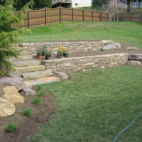 453 Stone Retaining Walls Terrace the Rear Yard