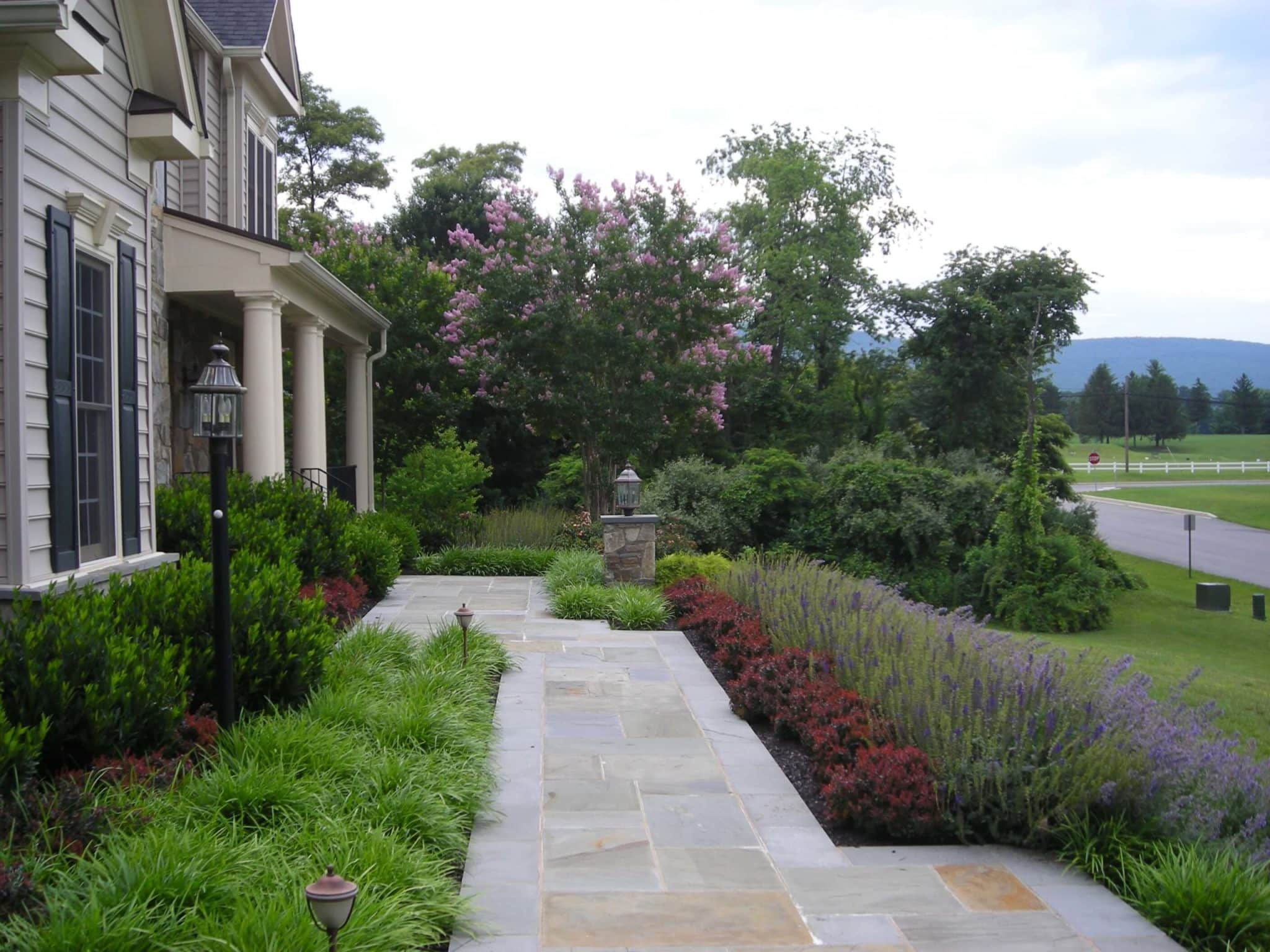 459 Front Flagstone Walkway with Stone Column and Light