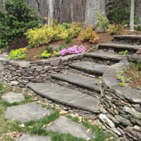474 Curved Stacked Stone Retaining Walls and Stairs