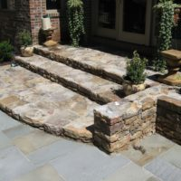 475 Wide Stone Landing and Steps to Flagstone Patio with Stone Retaining Garden Walls