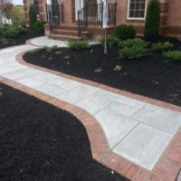 484 Front Flagstone Walkway Bordered in Brick with Expanded Landing