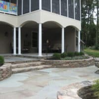 5 Lower-Level Flagstone Patio with Stone Garden & Retaining Walls