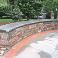 56 Stone Sitting Wall with Flagstone Cap