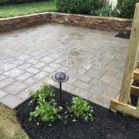 578 EP Henry Bristol Stone Paver Patio and Baltimore Wall Stone Low Retaining Wall