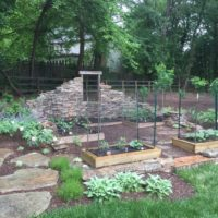 598 Custome Stone Ruin Wall with PA Field Stone and Residential Vegetable Garden