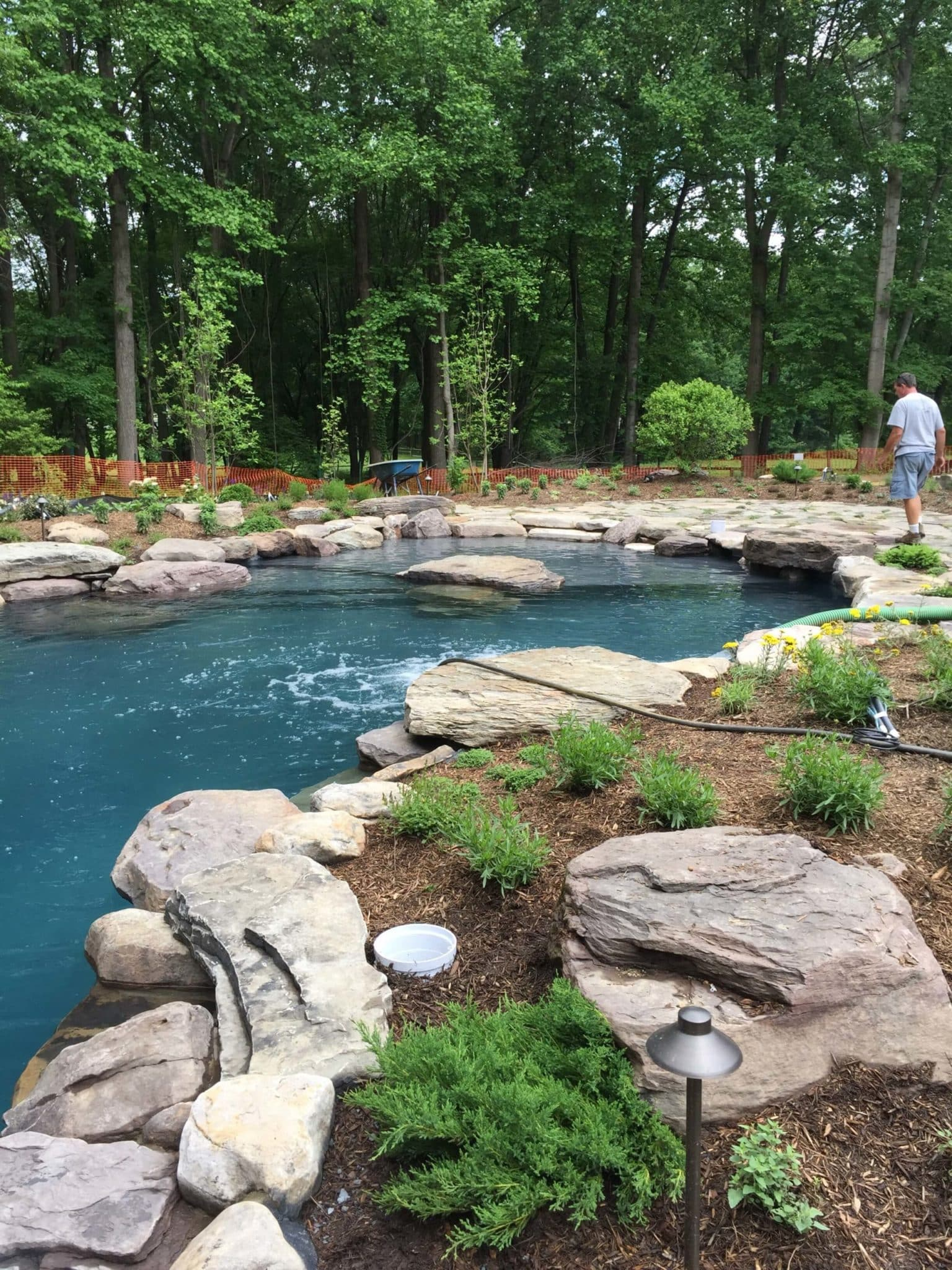 605 Residential Pool with PA Boulder Waterfall and Naturalized Edge