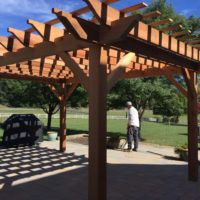 609 Custom Rough-Cut Cedar Pergola with Scroll Cut Ends