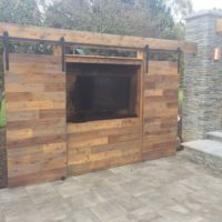 611 Custom Cedar Outdoor TV Cabinet Wall with Sliding Barn Doors