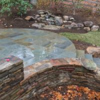 619 Curved PA Beige Stone Wall and PA Flagstone Patio