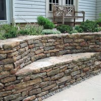 62 Stone Retaining Wall with Built In Bench