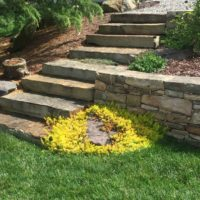 651 Rustic Stone Steppers and Stone Retaining Wall
