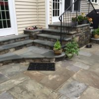 654 Two-Way Landing in Chocolate Gray Stone with PA Thermal Full Color Flagstone Treads