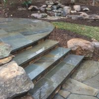 662 Stone Steps with PA Beige Stone Risers and Flagstone Treads
