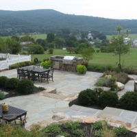 664 Formal Flagstone Patio with Stone Walls, Built In Grill, Boulders and Potager Garden
