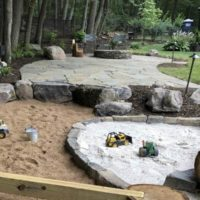 673 Informal Irregular Flagstone Patio and Stone Firepit with Natural Play Space