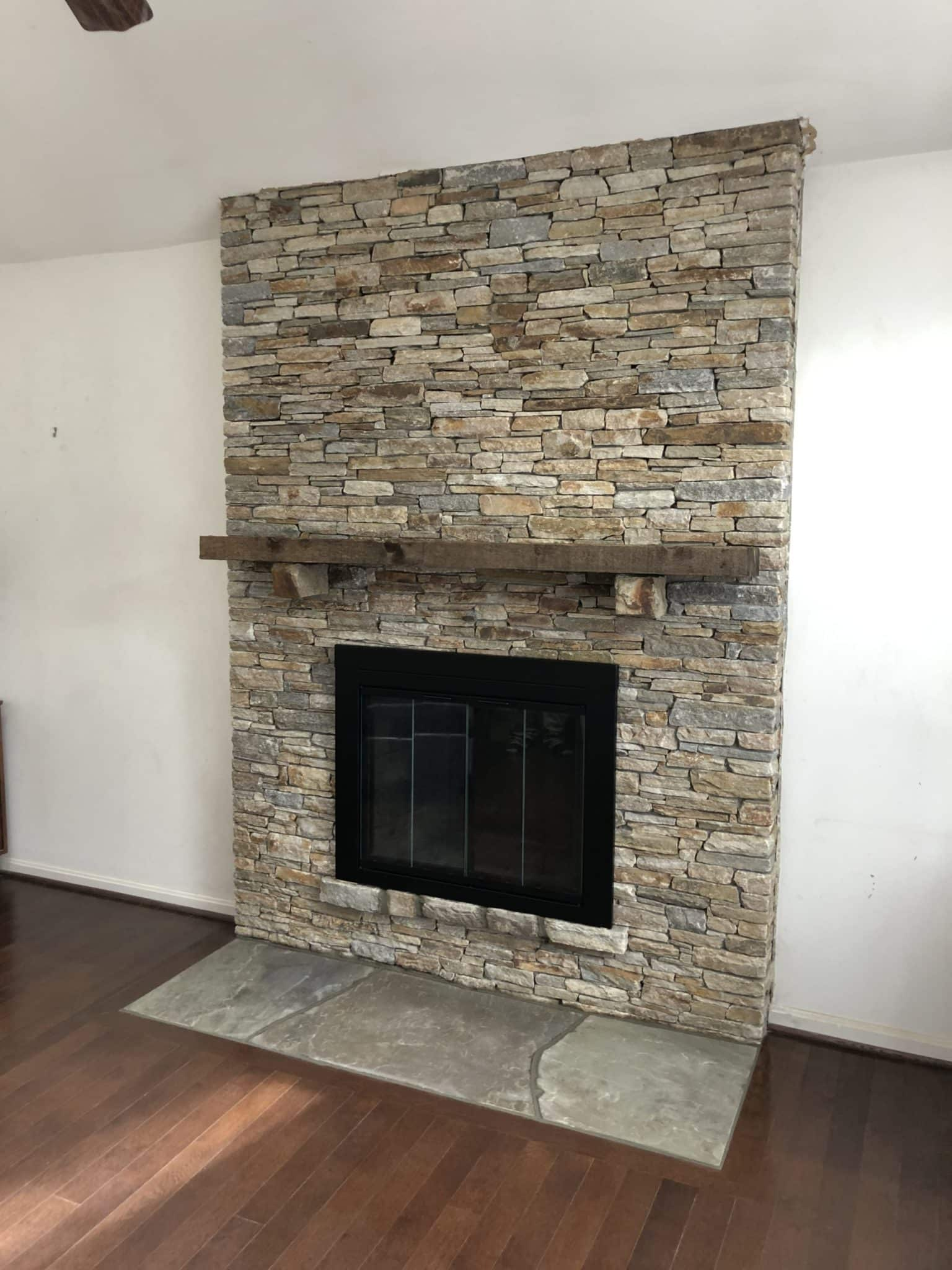741 Renovated Fireplace with Baltimoe Wallstone laid in Semi Dry Stack Style