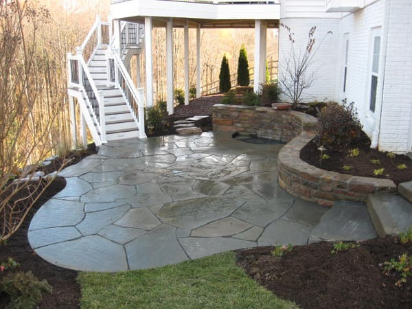 Outdoor Stone Patio - After Landscape, Garden, Patio & Stone Wall Designs Done by Poole's Stone & Garden- Frederick, Ellicott City, Bethesda MD, VA & WV
