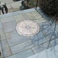 Flagstone Landing with Mosaic Inset