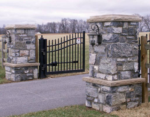 how to build stone driveway pillars