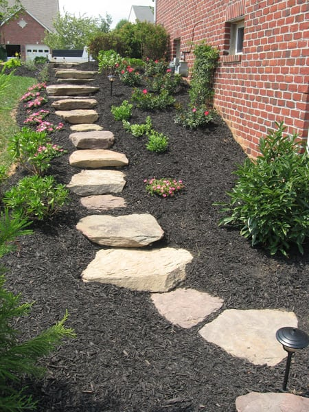 Outdoor Stone Patio and Steps - After Poole's Stone and Garden Designs in Frederick, Chevy Chase, Ellicott City MD & Leesburg VA