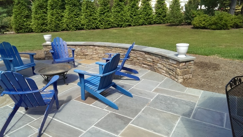 Large Flagstone Patio with Capped Stone Sitting Wall 2