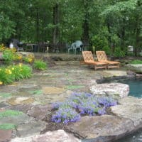 Rustic Stone Patio and Pool Deck