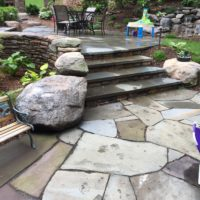 Boulders and Stone Steps Connect Flagstone Patios