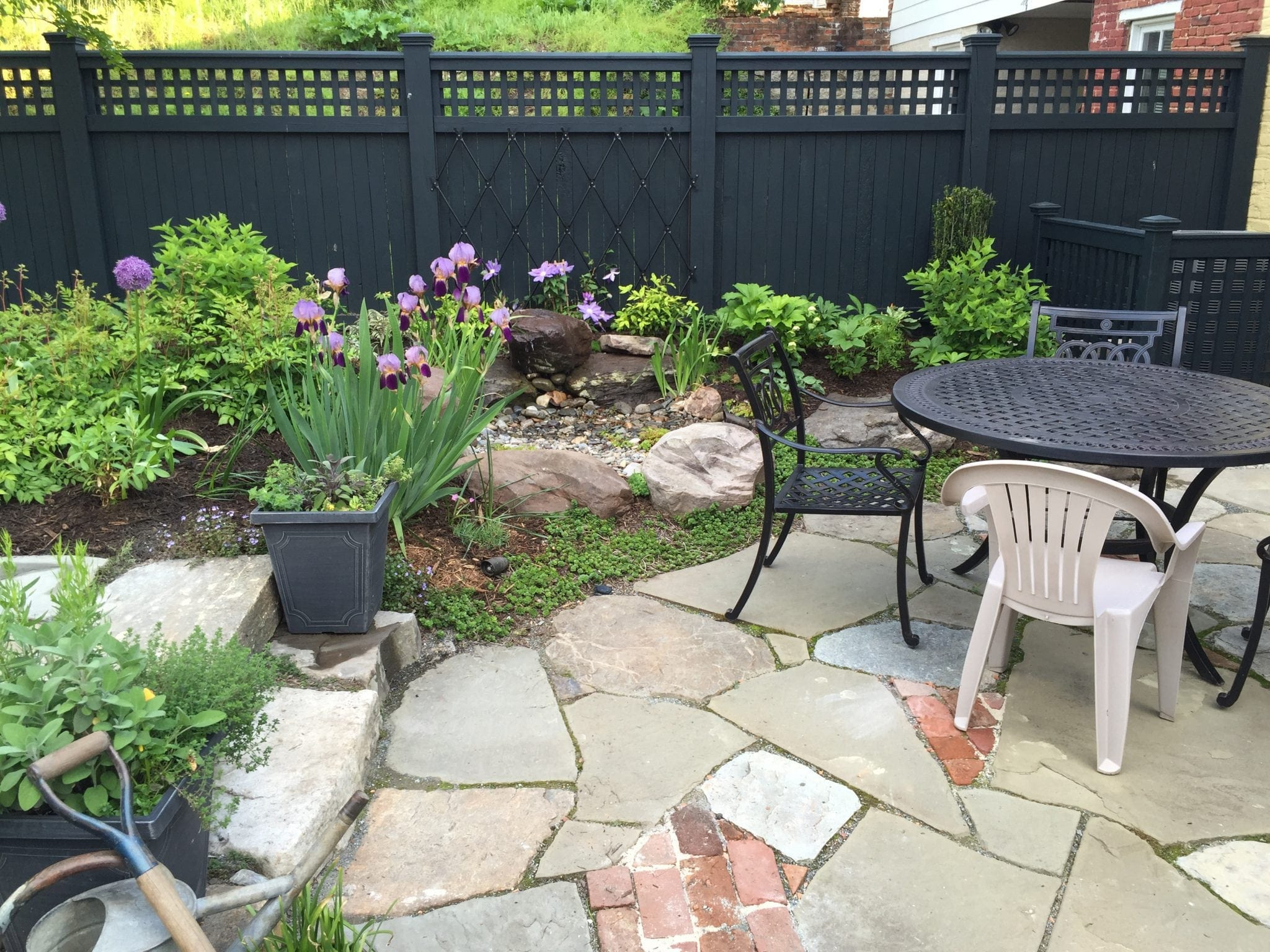 After Landscape Outdoor Stone Patio Design