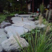 Informal Front Walkway with Boulders and Stone Slab Steppers 2