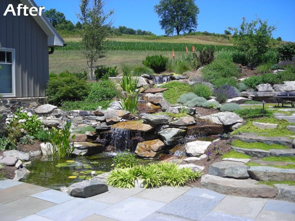 Stone Patio Pond- After Landscape Design Done by Poole's Stone & Garden- Frederick, Ellicott City, Bethesda MD, VA & WV