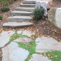 Irregular Flagstone Path to Stone Slab Steppers