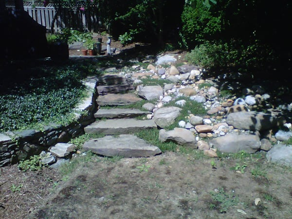 Stone Water Feature - Before Landscape Design Done by Poole's Stone & Garden- Frederick, Ellicott City, Bethesda MD, VA & WV