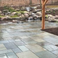Flagstone Patio with Waterfall View