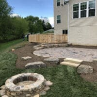 Paver Patio and Stone Firepit