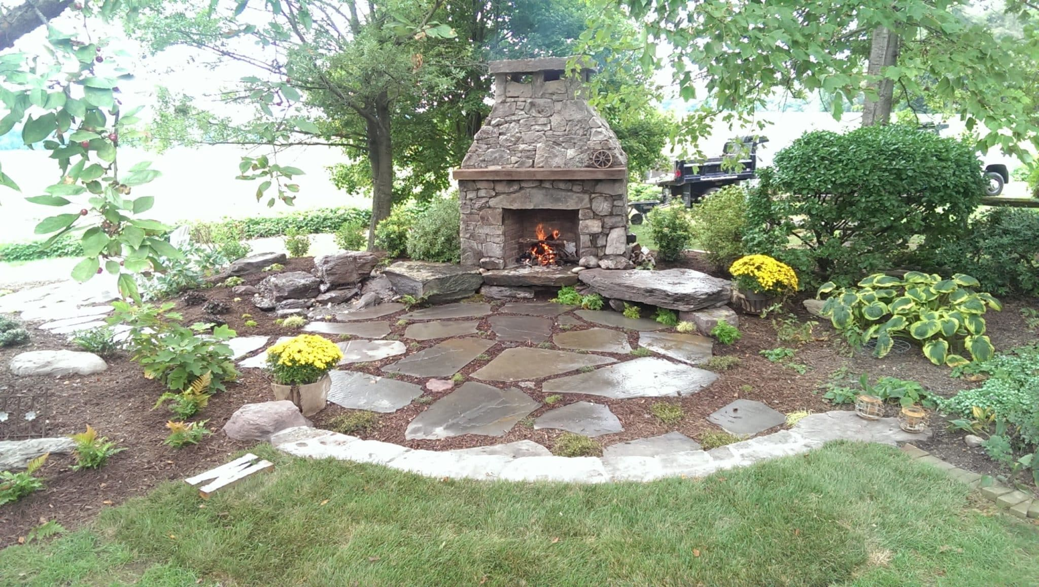 Loosely Laid Flagstone Patio at Custom Fireplace