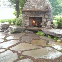 Loosely Laid Flagstone Patio at Custom Fireplace 2
