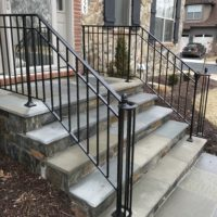 Builder-Grade Steps Renovated with Stone Veneer and Flagstone Treads
