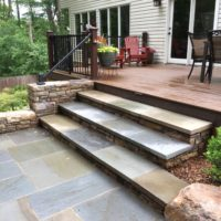 New Wide Stone Steps From Patio to Deck