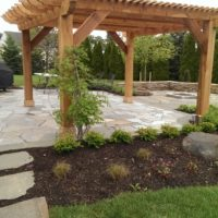 Cedar Pergola at Flagstone Patio