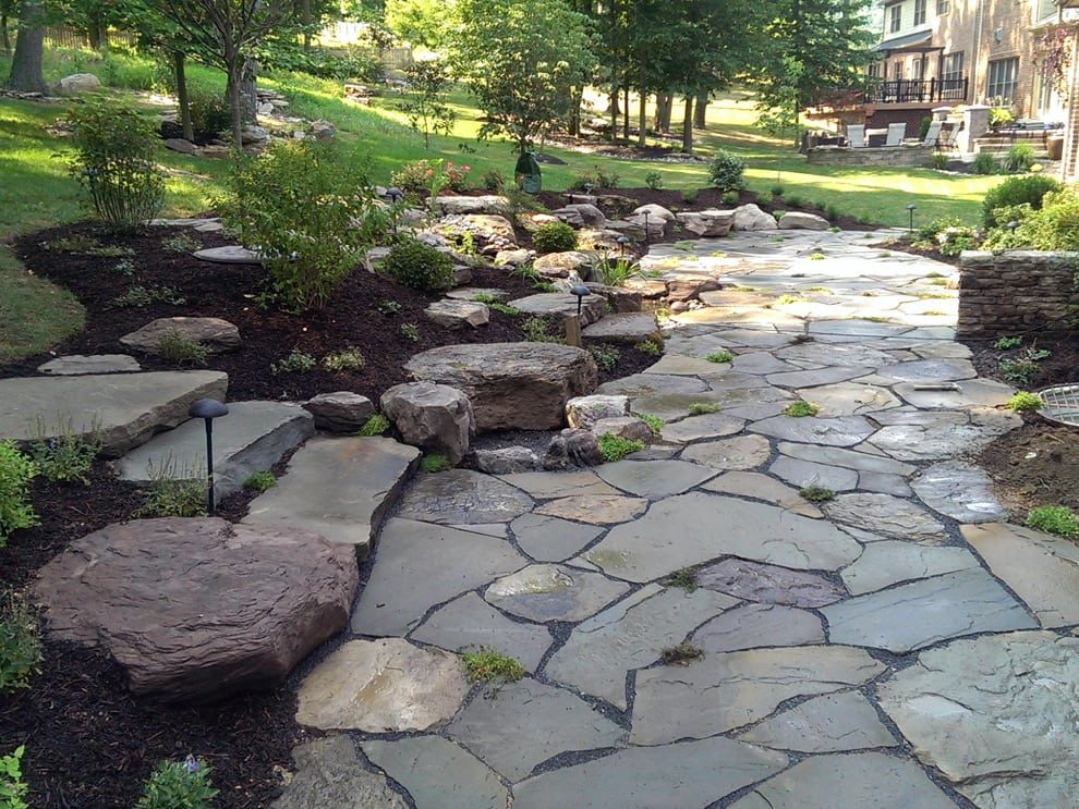 Landscape garden design in md va and wv pooles stone garden outdoor flagstone patio and stone steps in frederick ellicott city md and beyond workwithnaturefo