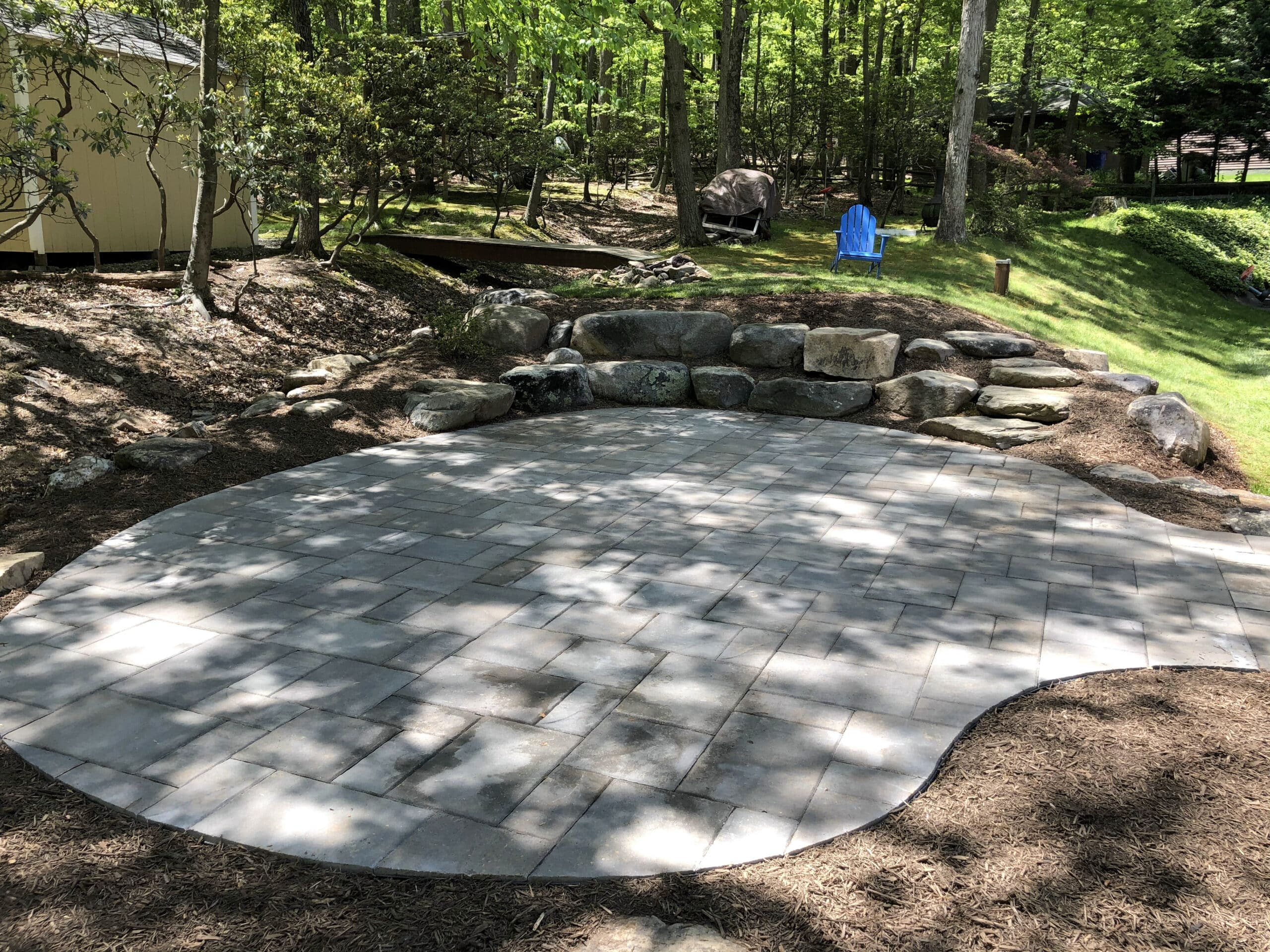 Flagstone Patio with Boulders
