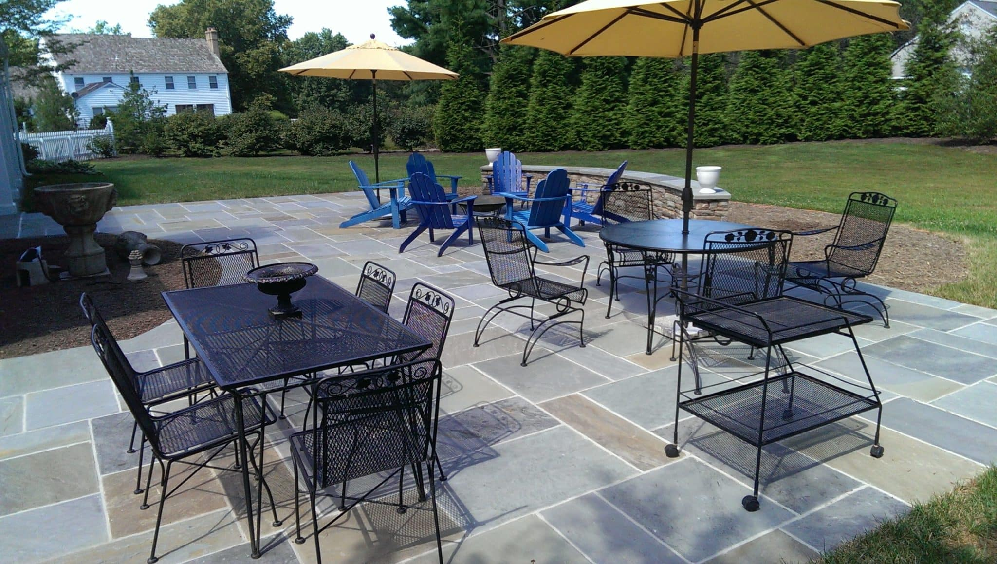 Large Flagstone Patio with Capped Stone Sitting Wall