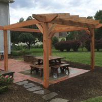 Cedar Pergola at Brick and Flagstone Patio