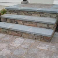 Stone and Paver Staircase to Paver Patio