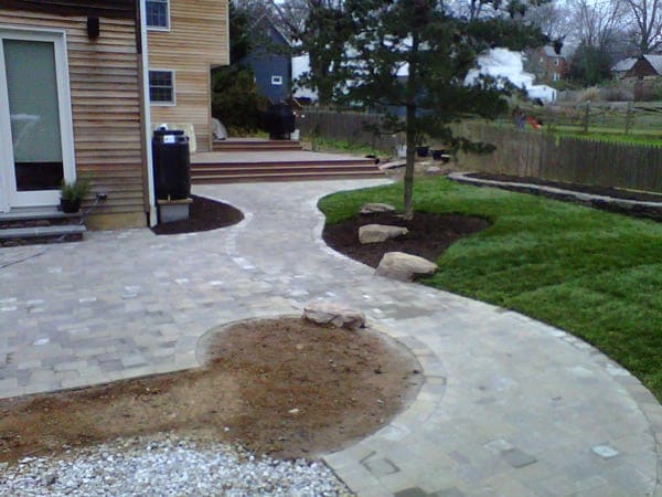 Stone Outdoor Patio - After Landscape Design Done by Poole's Stone & Garden- Frederick, Ellicott City, Bethesda MD, VA & WV