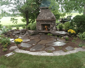 Stone Fireplace and Patio by Poole's Stone and Garden in Leesburg VA & Shepherdstown WV